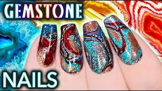 DIY Gemstone Nail Art - NO WATER WATERMARBLE!