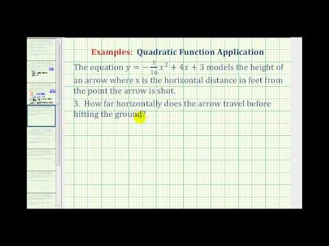 Example: Quadratic Function Application - Horizontal Distance and Vertical Height