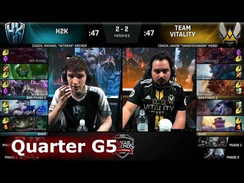 H2K Gaming vs Vitality | Game 5 Quarter Final S8 EU LCS Spring 2018 | H2K vs VIT G5