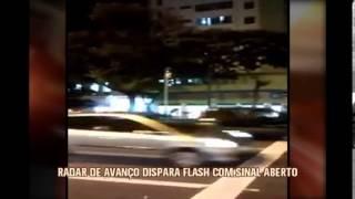 Motoristas flagram disparo de flash de radares de avan�o de sinal  com sem�foro verde
