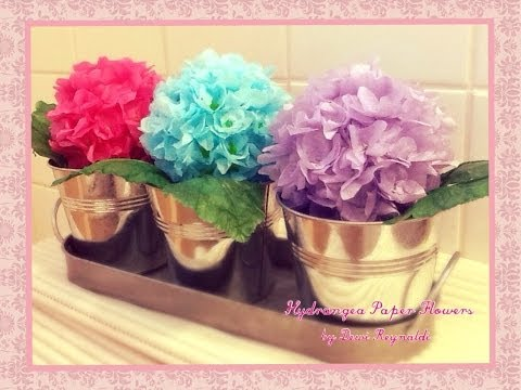 How to Make Hydrangea Paper Flower - Room, Gift Box, Frame, Ball Decoration