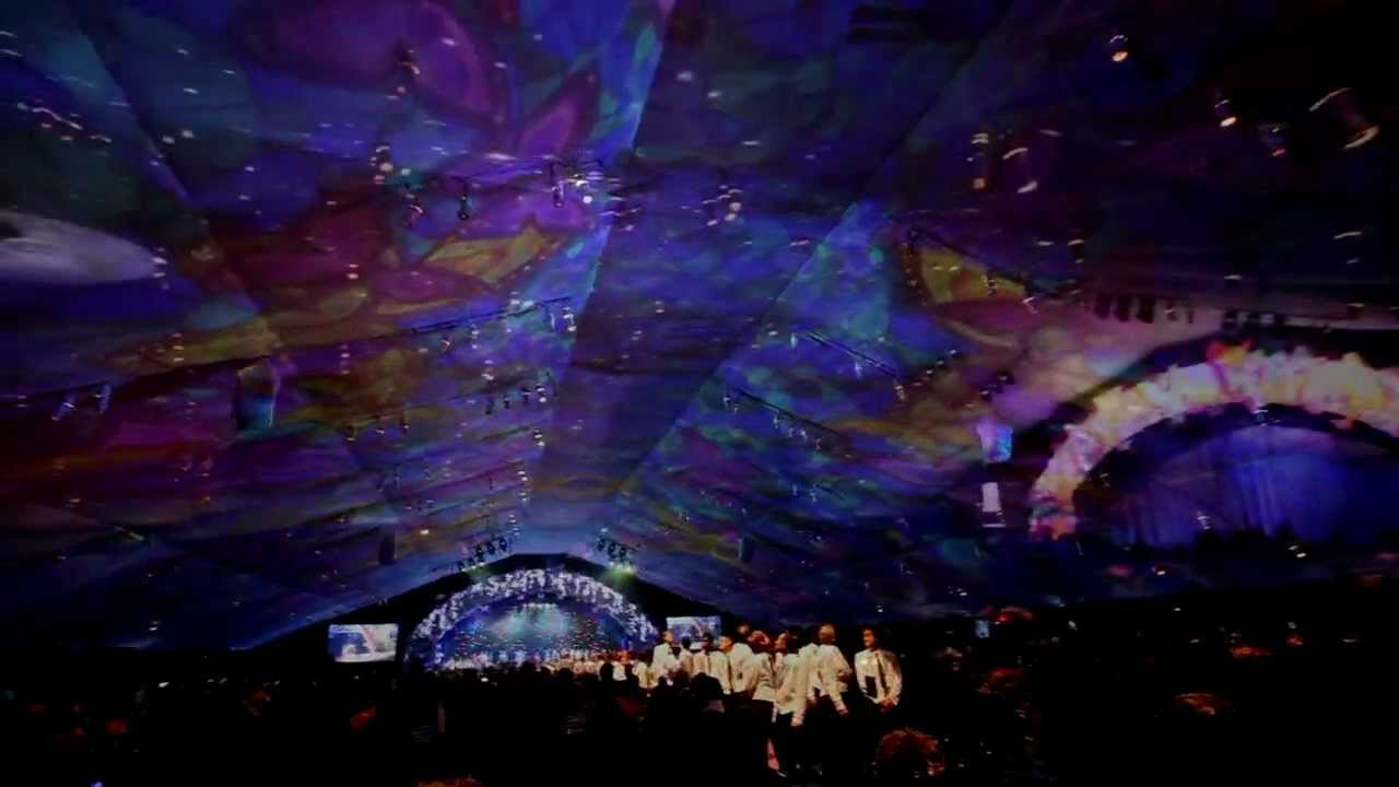 2d Projection Mapping On A Tent Ceiling Youtube