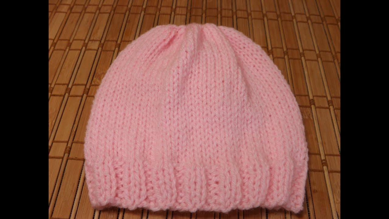 Knitting Hats For Beginners : How to knit a new born baby s hat for beginners youtube