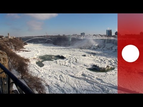Stunning video: Niagara Falls frozen by polar vortex