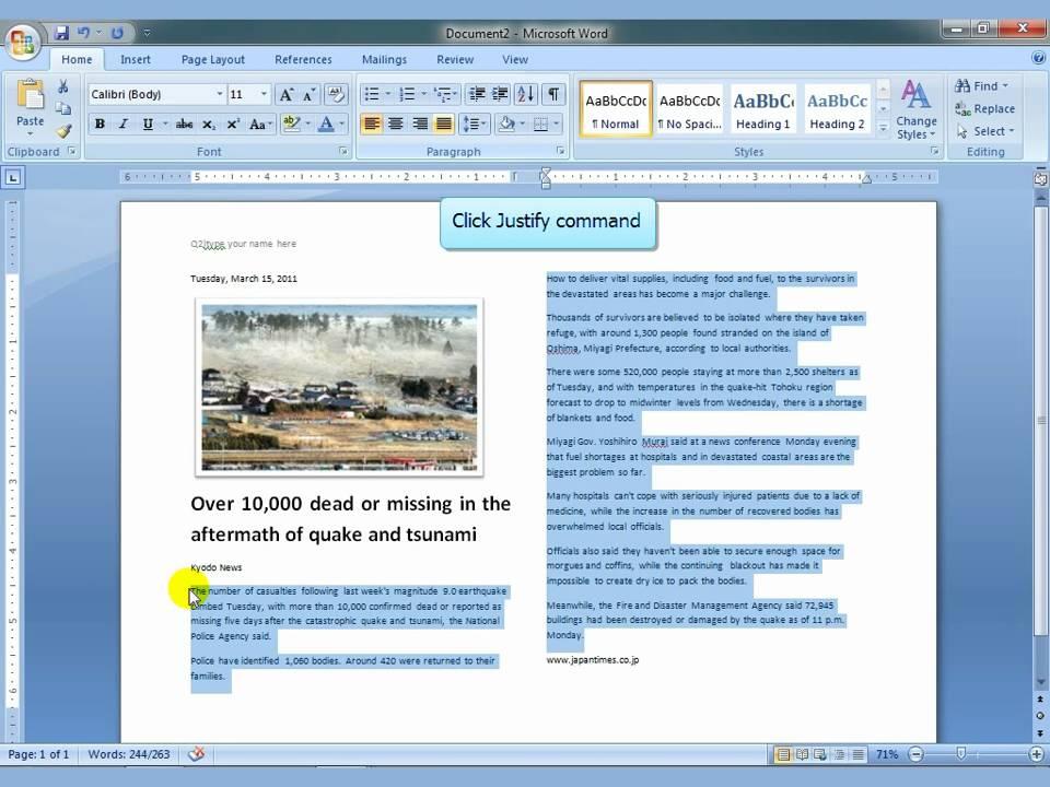 ms word 2007 newspaper columns mp4