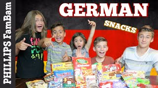 GERMAN FOOD TASTE TEST | AMERICANS TRY SNACKS & CANDY from GERMANY | PHILLIPS FamBam Taste Test