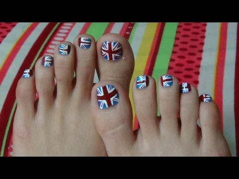 Nail Art For Beginners - Vẽ Móng Chân Hình Lá Cờ Nước Anh | Yêu Làm Đẹp