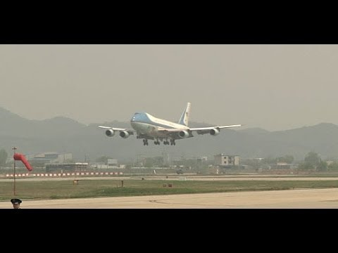 SOUTH KOREA!  President Barack Obama Arrives at Osan Air Base, ROK During Asia Tour!