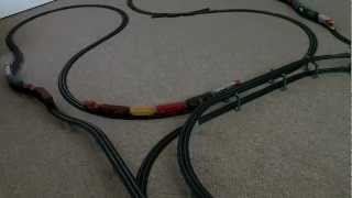 V09 Power loc and E Z track layout with 3 trains running