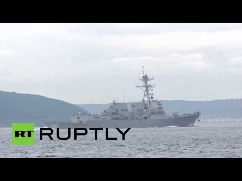 Video: US Navy destroyer 'Truxtun' passes through Dardanelles towards Black Sea amid Crimea tension