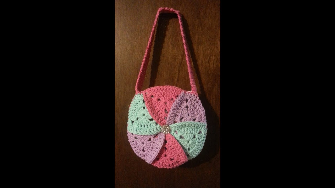 Crochet Handbag Tutorial : Crochet bag Granny Triangle #Pinwheel Crochet #Purse TUTORIAL #32 ...