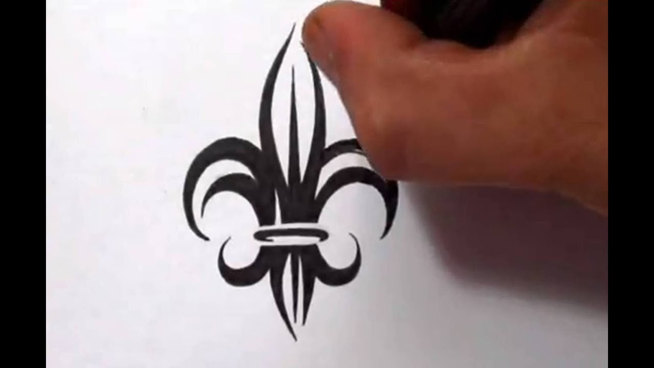 drawing a tribal fleur de lis tattoo design youtube. Black Bedroom Furniture Sets. Home Design Ideas