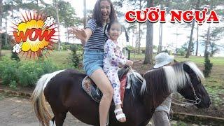 BÉ CƯỠI NGỰA THĂM VƯỜN DÂU TÂY 🤣 Children riding horse ♥ Dâu Tây Channel