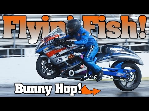 Tyler Fisher turbo Hayabusa bunny-hop motorcycle drag racing 2013