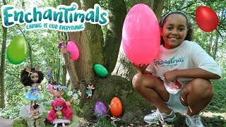 GIANT SURPRISE EGG HUNT IN A FOREST! Enchantimals Dolls Toy Challenge   Toys AndMe
