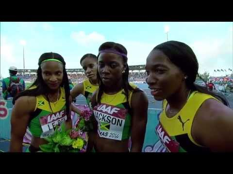 IAAF World Relays Bahamas 2014 - Mixed Zone 4 Laps Race Jamaica Women Final
