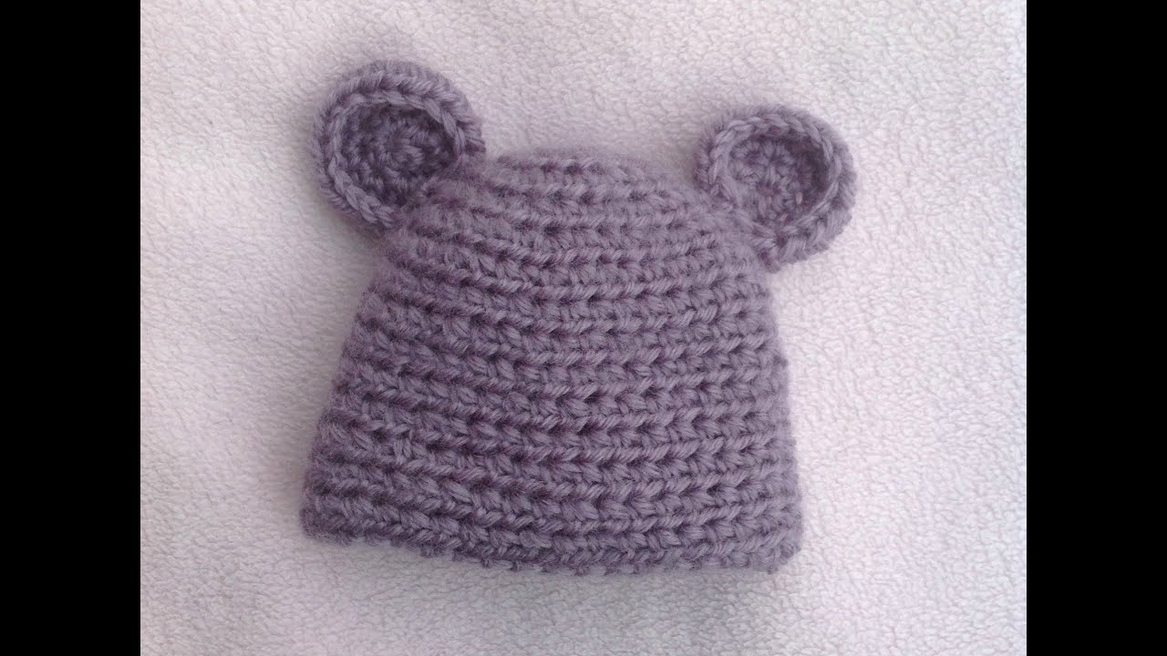 Crochet Baby Hat Pattern Beginner : HOW TO CROCHET A VERY EASY BABY HAT TUTORIAL - YouTube