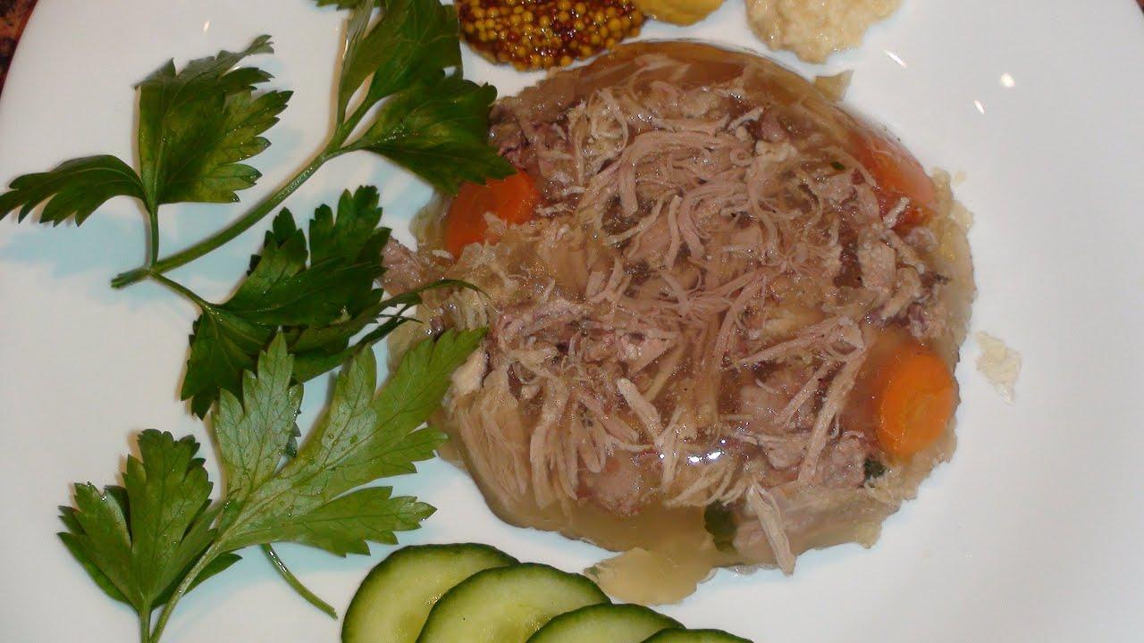 Холодец из свиной рульки и свиных ножек рецепт с пошагово