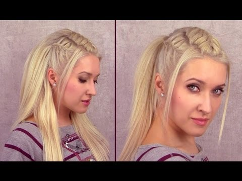 Cute french braided ponytail hairstyle for medium long hair Everyday half up half down for school