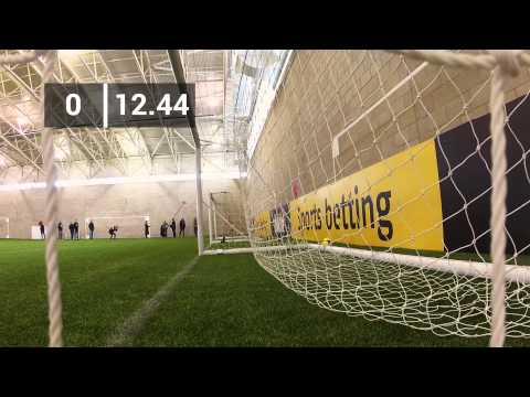 Man Utd's Javier Hernández takes on the bwin Corner Kick Challenge
