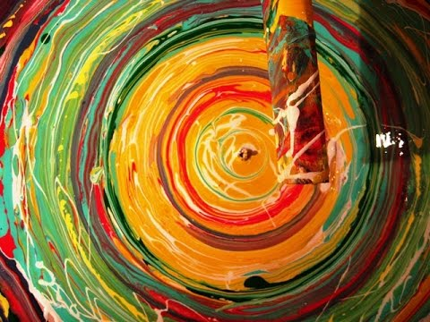 Abstract Art Painting   Acrylic Pouring Circle Techniques 02