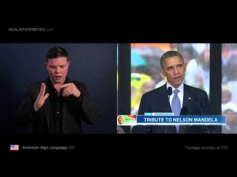U.S. President Barack Obama in American Sign Language - Real Interpreter