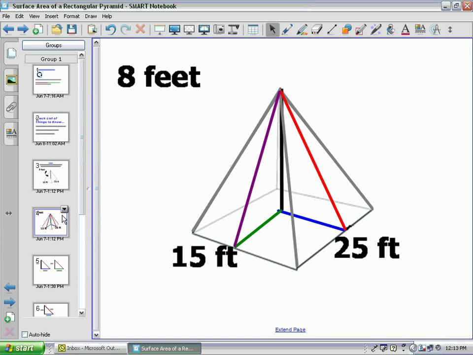 how to find the total surface area of a pyramid