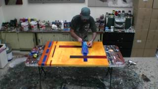 PAINTING LARGE ACRYLIC ABSTRACT ART DEMONSTRATION Abstract
