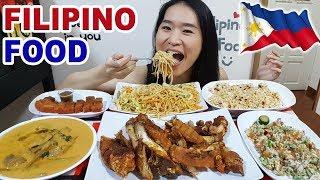 FILIPINO FOOD! Crispy Pata, Sisig, Lechon Kawali, Pancit Canton & Kare Kare | Eating Show Mukbang