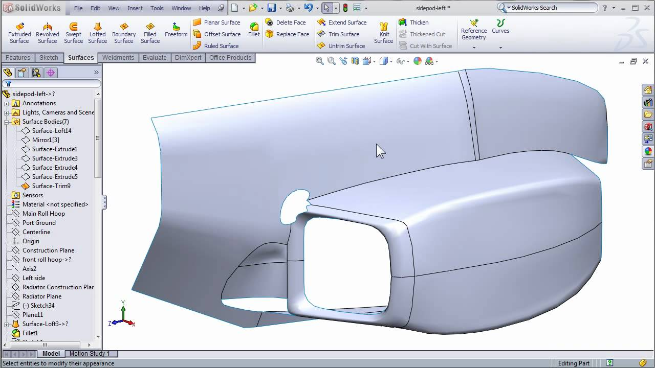 Solidworks Surfacing To Create Fsae Body Work Part 2