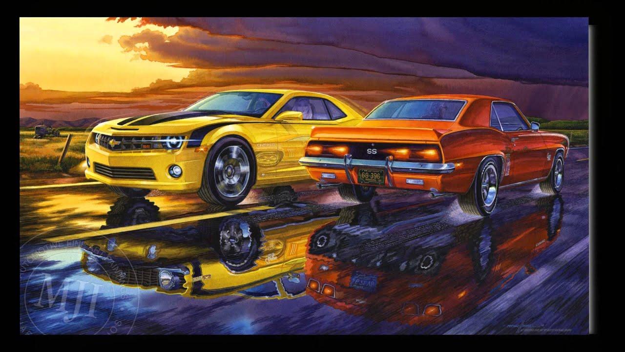1969 2010 Chevy Camaro Art TV Ad Artist Michael Irvine
