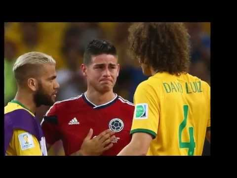 James Rodriguez In Tears, Consoled By Brazilian David Luiz 2014 FIFA World Cup