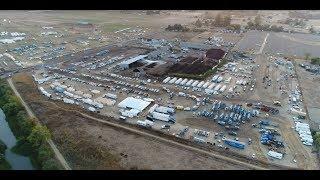 Santa Rosa Fire | Giant PG&E Staging Area | PG&E Trucks & Tents for Power Line Repair