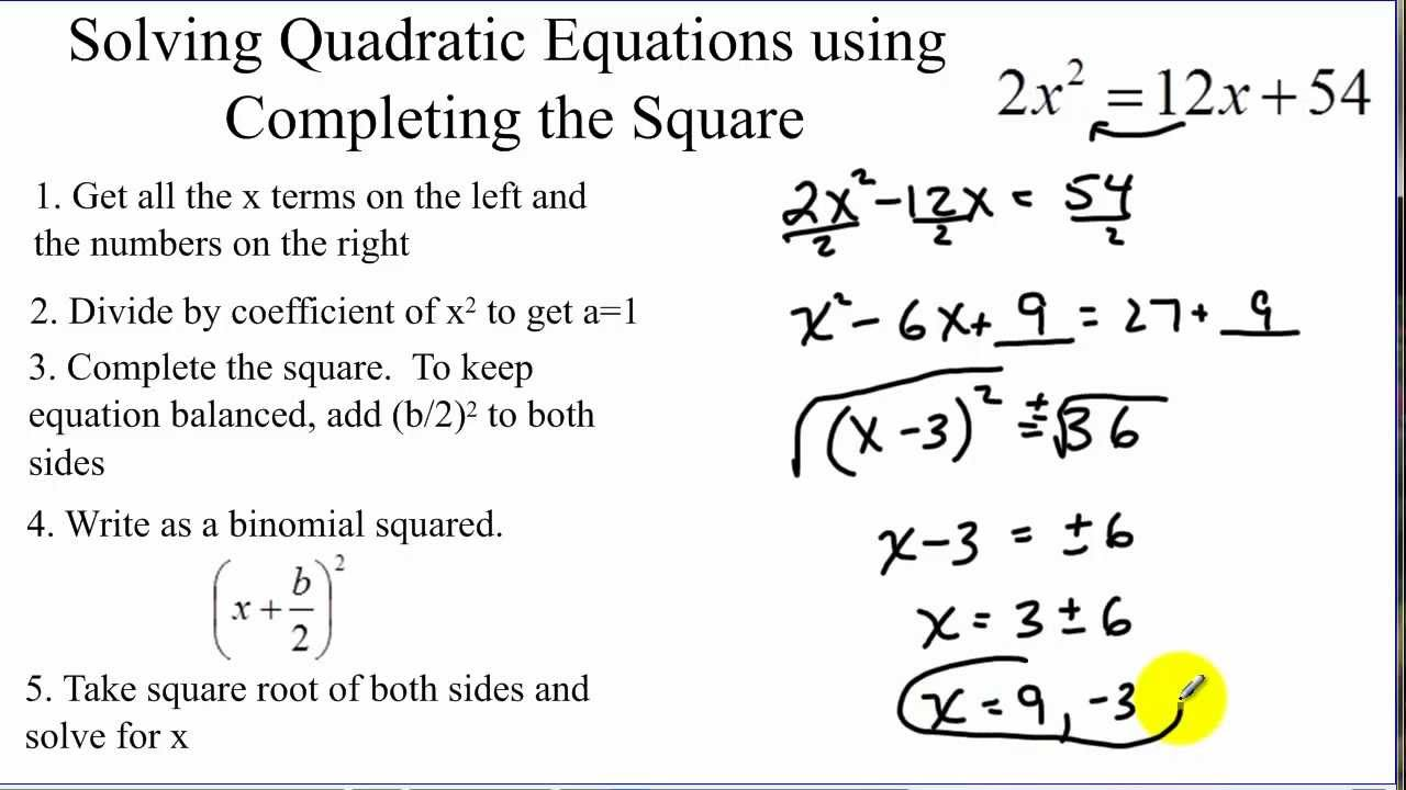 solving quadratic equations by completing the square youtube. Black Bedroom Furniture Sets. Home Design Ideas