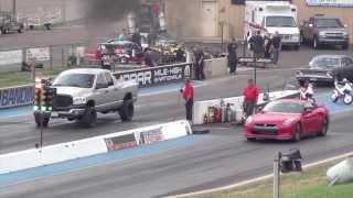 2012 Nissan GTR Gets Destroyed By Dodge Ram Cummins