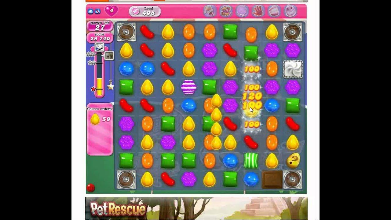 Candy Crush Saga Level 408 - YouTube