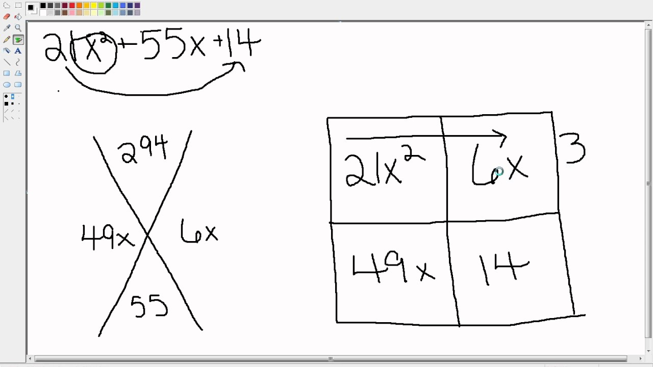 factoring trinomials with the x box method youtube. Black Bedroom Furniture Sets. Home Design Ideas