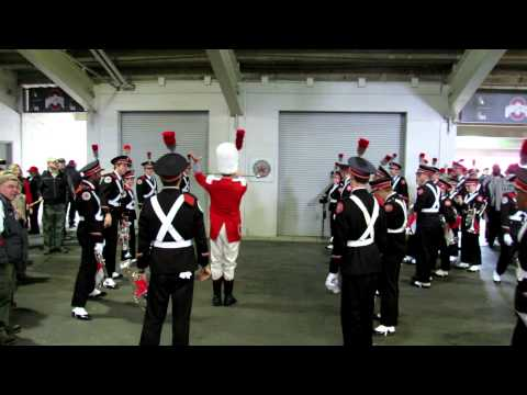 OSUMB Drum Major's Three Knocks Pre-game Ritual with B and C Rows OSU vs IL 11 3 2012