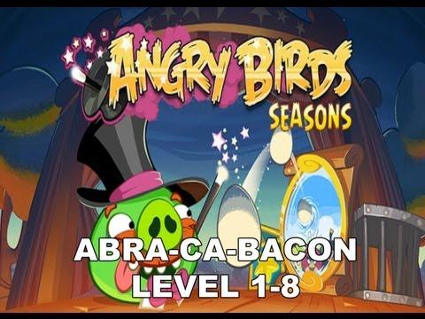 Angry Birds Seasons Abra ca bacon 1-8 3 stars