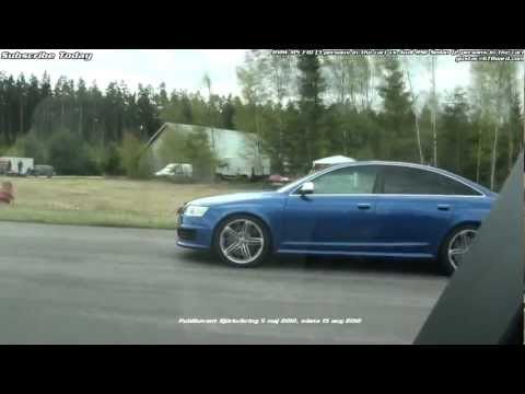 F10 BMW M5 vs Audi RS6 Sedan V10 BiTurbo (3 vs 2 people inside, hitting revlimiter in M5 etc))