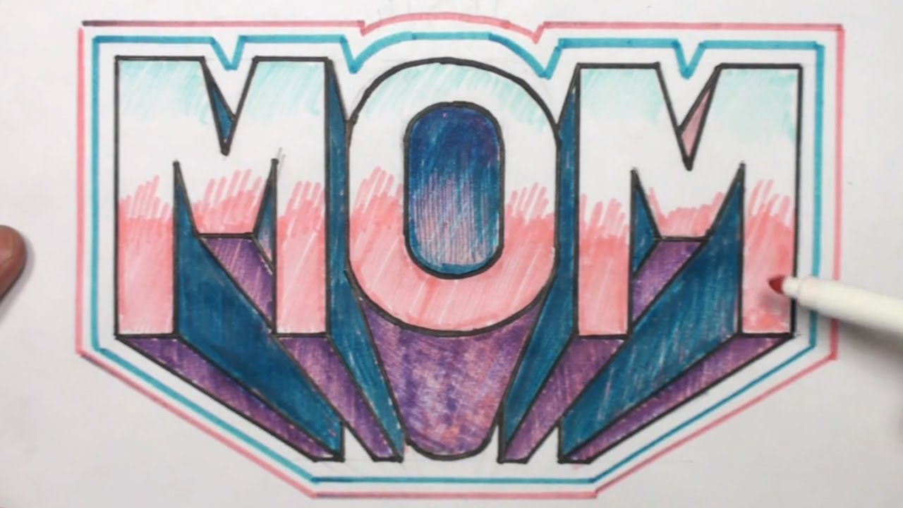 How to Draw 3D Block Letters MOM in One Point Perspective - MAT ...
