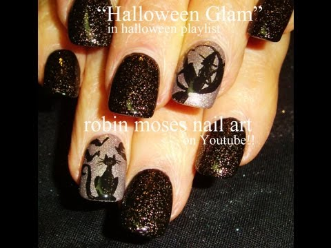 Halloween Glam - Witch & Cat Nail Art