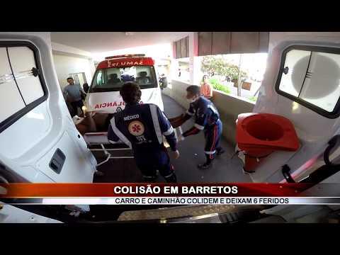 29/05/2019 - Colisão entre carro e caminhão na zona rural em Barretos deixa 6 feridos