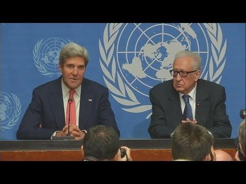 Syria crisis talks: John Kerry calls Sergei Lavrov Geneva talks 'constructive'