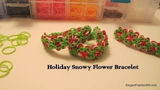 How To Make Holiday Christmas Snowy Flower Bracelet On