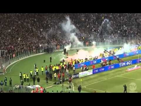 Napoli Fans Throw Smoke bombs hurt a firefighter  before the Coppa Italia Final 2014