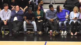 Kevin Hart and fiance Eniko seem to be having more fun then Beyonce and Jay at Clippers Game