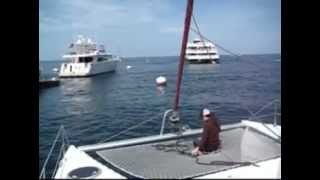 Picking Up A Mooring With A Sailing Catamaran At Catalina