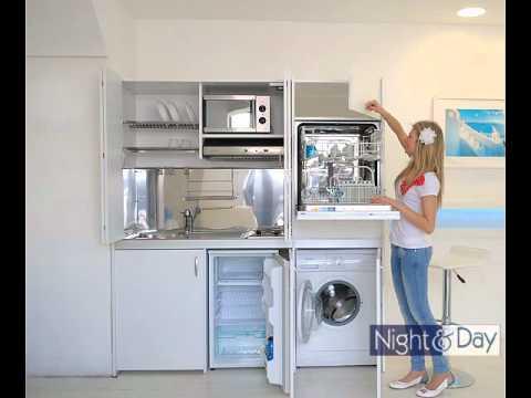 Cucina compact con ante a libro completa di - Cucine con lavatrice ...