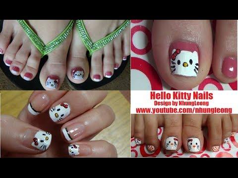 Nail Art For Beginners - Vẽ Móng Chân & Móng Tay Mèo Hello Kitty Dễ Thương | Yêu Làm Đẹp